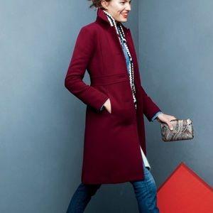 J Crew Double Cloth lady day coat burgundy